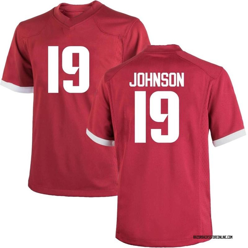 Replica Men's Khari Johnson Arkansas Razorbacks Cardinal Football College Jersey