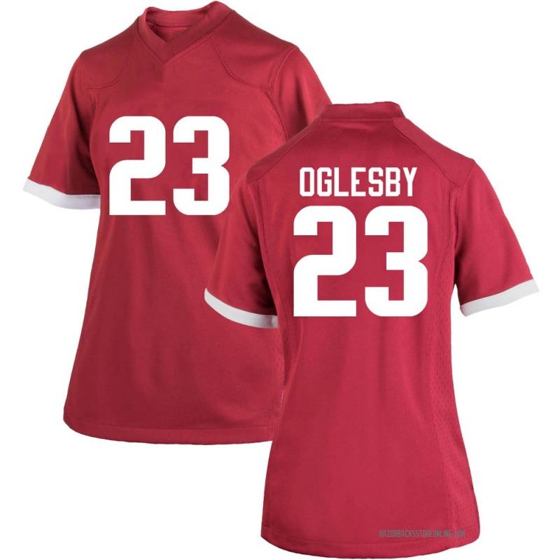 Replica Women's Josh Oglesby Arkansas Razorbacks Cardinal Football College Jersey